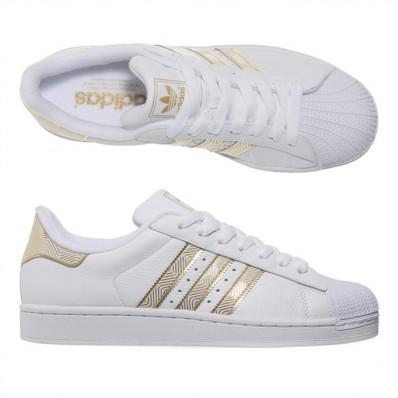 basket adidas blanche et doré